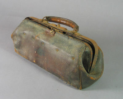 Brown leather Gladstone-type bag, used by John T Haynes; Personal effects; M10174.1
