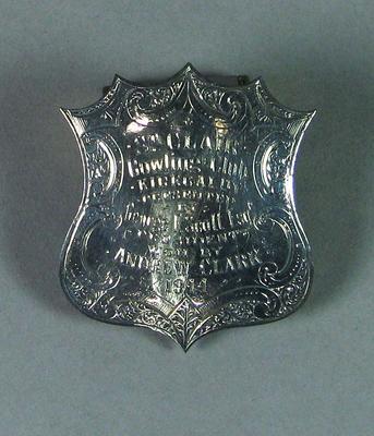 Silver disk from presentation lawn bowl, St Clair Bowling Club 1914