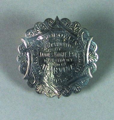 Silver disk from presentation lawn bowl, Kirkcaldy Bowling Club 1934