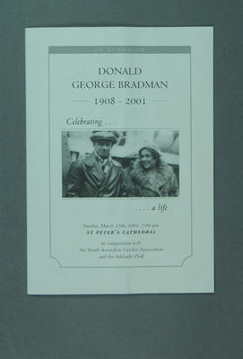 Programme, Donald George Bradman in memoriam service - 25 March 2001; Documents and books; M13992