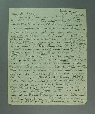 Letter addressed to E E Bean, regards 1868 Aboriginal Cricket team tour of England - 14 Dec 1933