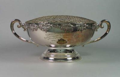 Trophy - rose bowl - Commonwealth Jubilee Singles Championship March 1951 won by Glyn Bosisto