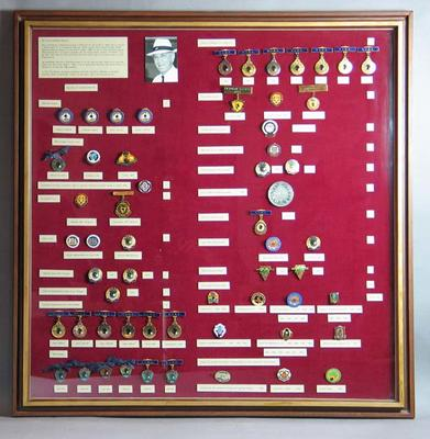 Framed set of 58 Enamelled medals and badges - Glyn Bosisto's lawn bowling career