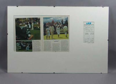 Scorecard used for first ever lawn bowls match between reigning world champions, October 5 1986