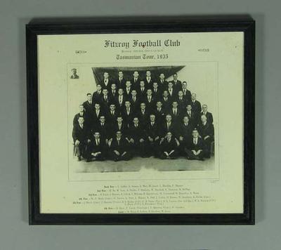 Framed Photograph - Fitzroy Football Club, Tasmanian Tour 1935; Photography; Framed; 1989.2114.11
