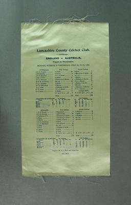 Cricket scorecard - Lancashire County Cricket Club, England v Australia 26-28 July 1909.; Documents and books; M3649