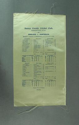 Cricket scorecard - Surrey County Cricket Club, England v Australia 9-11 August 1909.; Documents and books; M3651