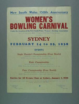 Poster advertising Women's Bowling Carnival in Sydney, 14-25 Feb 1938