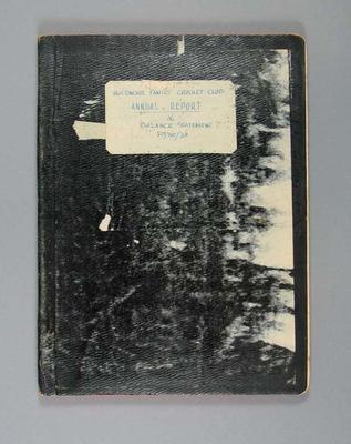 "Annual report, ""McConchie Family Cricket Annual Report & Balance Statement 1930-31"""
