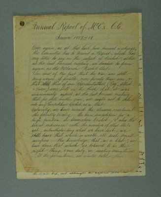"""""""Annual Report of McC's C.C. Season 1917-18"""", 16 handwritten pages; Documents and books; M7549.46"""