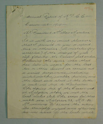 """""""Annual Report of McC's C.C. Season 1918-19"""", 8 handwritten pages; Documents and books; M7549.47"""