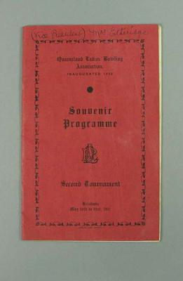 Programme, Queensland Ladies' Bowling Association tournament 10-21 May 1937