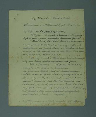 """""""Annual Report of McC's C.C. Season 1914-15"""", 6 handwritten pages; Documents and books; M7549.48"""