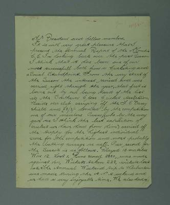 """""""Annual Report of McC's C.C. Season 1919-20"""", 4 handwritten pages; Documents and books; M7549.49"""