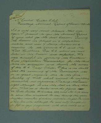 """""""McConchie Cricket Club, Secretary's Annual Report 1921-22"""", 3 handwritten pages"""