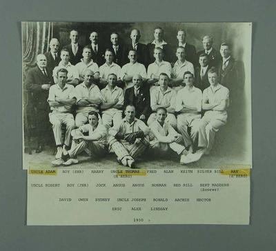 """Reproduction photograph, """"McConchie Family Cricket Club Team & supporters 1930"""""""