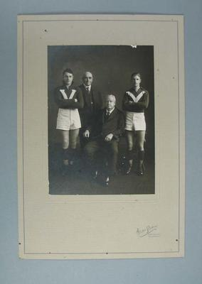 Photograph - Studio portrait, Wilfred Smallhorn and Haydn Burton with two Officials; Photography; 1989.2114.16