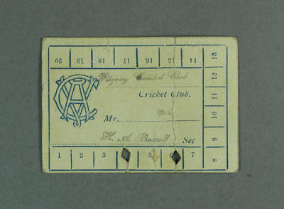 Victorian Cricket Association season ticket, 1923-24; Documents and books; M8861
