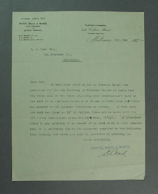 Letter addressed to Victorian Cricket Association, regards position of wall in Collins Place - 1924; Documents and books; M9617.1