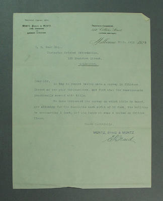 Letter addressed to Victorian Cricket Association, regards position of wall in Collins Place - c1924; Documents and books; M9617.2