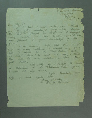 Letter from Harold Larwood, c1930s; Documents and books; M8868