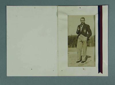 Photograph of  Haydn Bunton, Brownlow Medalist 1931-32-35, in card folder