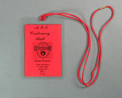 Identification card & lanyard issued to John Lill, 1996 AFL Centenary Ball