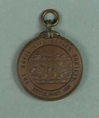 Royal Life Saving Society bronze medal, presented to Lily Beaurepaire in 1910
