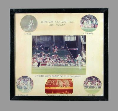 Centenary Test Match 17 March 1977 at MCG, 6 coloured photographs adhered to mounted board with handwritten text