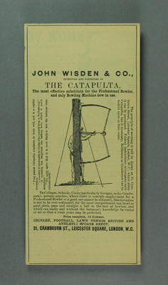 "Reproduction advertisement, John Wisden & Co invention - ""The Catapulta"""