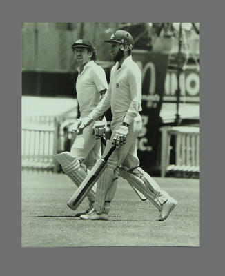 Photograph of Ian Chappell and Greg Chappell walking out to bat, SCG - Jan 1980; Photography; M9915