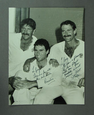 Photograph of Rod Marsh, Greg Chappell & Dennis Lillee in dressing rooms, SCG - 1984