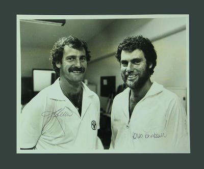 Photograph of Greg Chappell & Dennis Lillee in dressing rooms, SCG - 1984