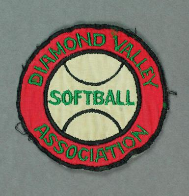 "Cloth badge, ""Diamond Valley Softball Association"""