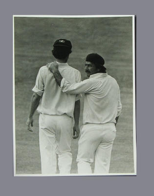 Photograph of Greg Chappell and Rod Marsh during a cricket match, 1975