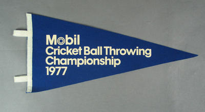 Pennant, Mobil Cricket Ball Throwing Championship - 1977; Flags and signage; M10048