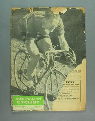 "Magazine, ""The Australian Cyclist"" Aug 1961"