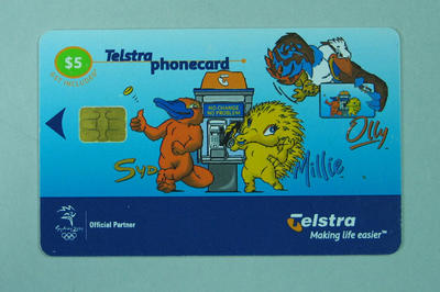 Telstra phonecard featuring 'Syd', 'Millie' & ''Olly', Sydney 2000 Olympic mascots