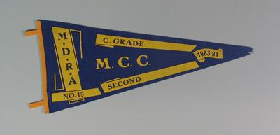 Pennant - MDRCA No.19, C Grade,  Second,  M.C.C. 1983-84
