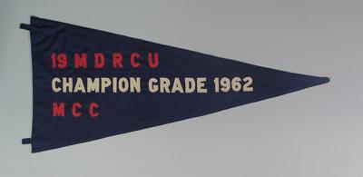 Pennant - MDRCU No.19,  Champion Grade,  M.C.C. 1962