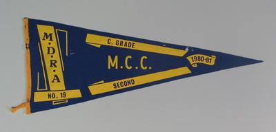 Competition pennant MDRA No. 19 -  C Grade  Second MCC 1980-81
