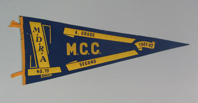 Competition pennant MDRA No. 19 -  A Grade  Second MCC 1981-82