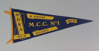 Competition pennant MDRA No. 19 - MCC No. 1B. Grade Second 1982-83