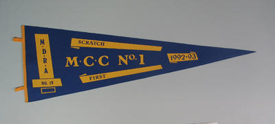 Competition pennant MDRA No. 19 - MCC No. 1 Scratch First 1992-93