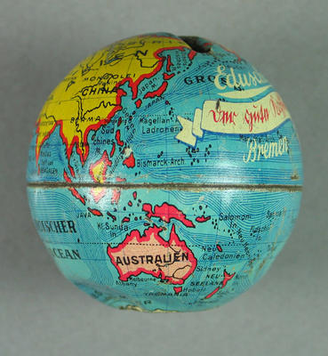 Money box, made from a converted globe of the world c1936