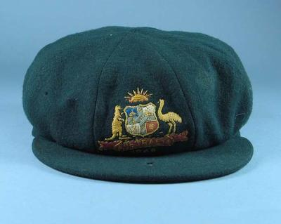 Baggy green cricket cap, worn by A L Hassett c1948