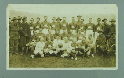 Photograph of Third Australian Division football team in London, 28 Oct 1916; Photography; 1991.2529.4