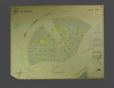 Seating plan, Paul McCartney concert - Melbourne Cricket Ground, March 1993