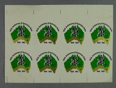 Sheet of eight stickers, 125th Anniversary of Australian Rules 1858-1983