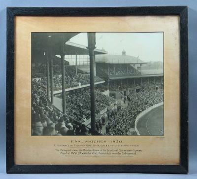 Photograph of VFL semi-final Collingwood FC v Richmond FC, MCG 1930; Photography; Framed; 1992.2558.1